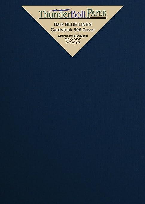 ".com : 150 dark navy blue linen 80# cover paper sheets - 5"" x ..."