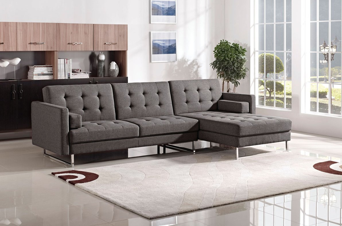 Amazon com esf 1471 gray modular tufted fabric sectional sleeper kitchen dining