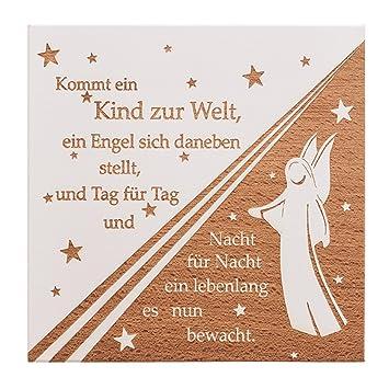 Taufspruch Madchen Fur Karte.Amazon De Mamemi Wandtafel Aus Holz Taufspruch Mit Engel