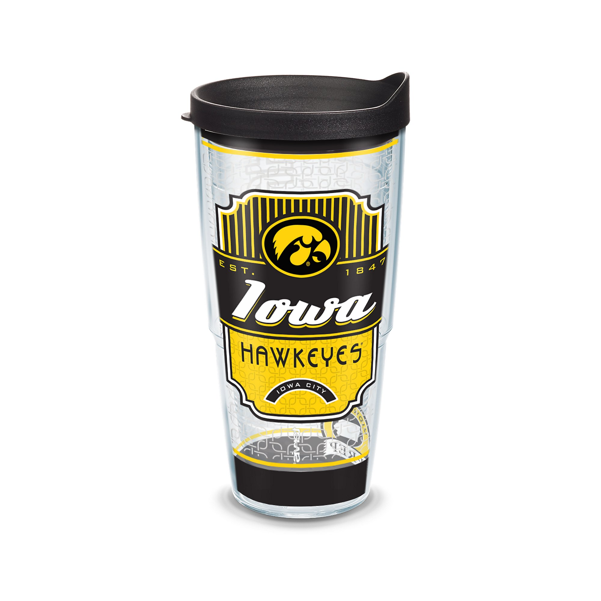 Tervis 1230308 Iowa Hawkeyes Pregame Prep Tumbler with Wrap and Black Lid 24oz, Clear