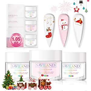 Saviland Acrylic Powder Set - Clear Pink White Acrylic Nail Powder Professional Polymer Powder System for Nail Extension and Decoration 3D Manicure at Home Salon