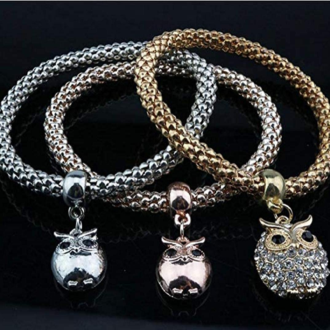 Crystal Charm Owl Pendant Chain for Daily Jewellery Three-Piece Suit TOPOB Fashion Womens Bracelet Set