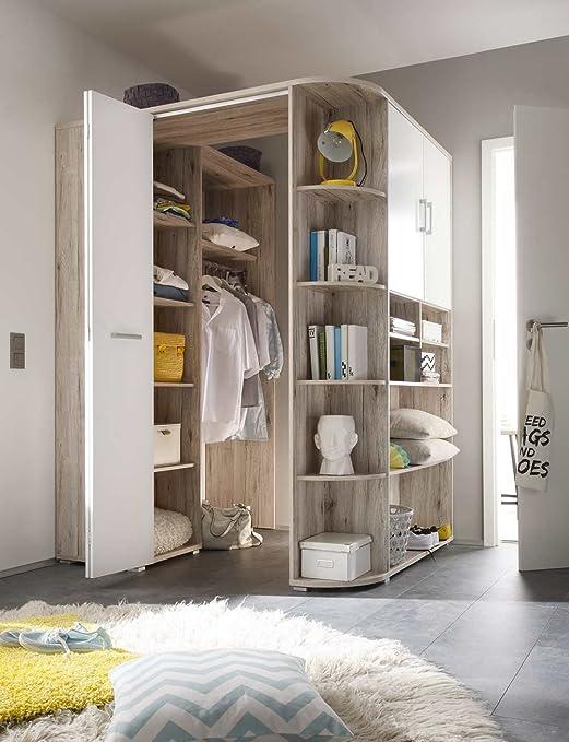 lifestyle4living Begehbarer Eckkleiderschrank in Sandeiche-Nachbildung,  weiße Falttür   Kleiderschrank   Schlafzimmerschrank   Eckschrank