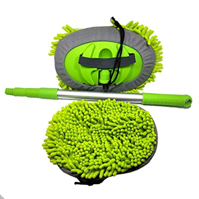 BONV Chenille Microfiber Car Wash Mop with Long Extension Aluminum Alloy Handle Three-Section Adjustable Rod Brush Multi-Function Household Car Truck Washing Cleaning Tool Accessories: Automotive