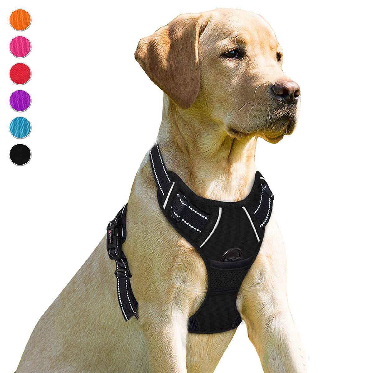 BARKBAY No Pull Dog Harness Front Clip Heavy Duty Reflective Easy Control Handle for Large Dog Walking(Black,S)