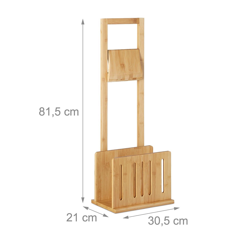 revistero bamb/ú natural Relaxdays Soporte de papel higi/énico con sitio para peri/ódicos conjunto de pie 81,5 x 30,5 x 21 cm