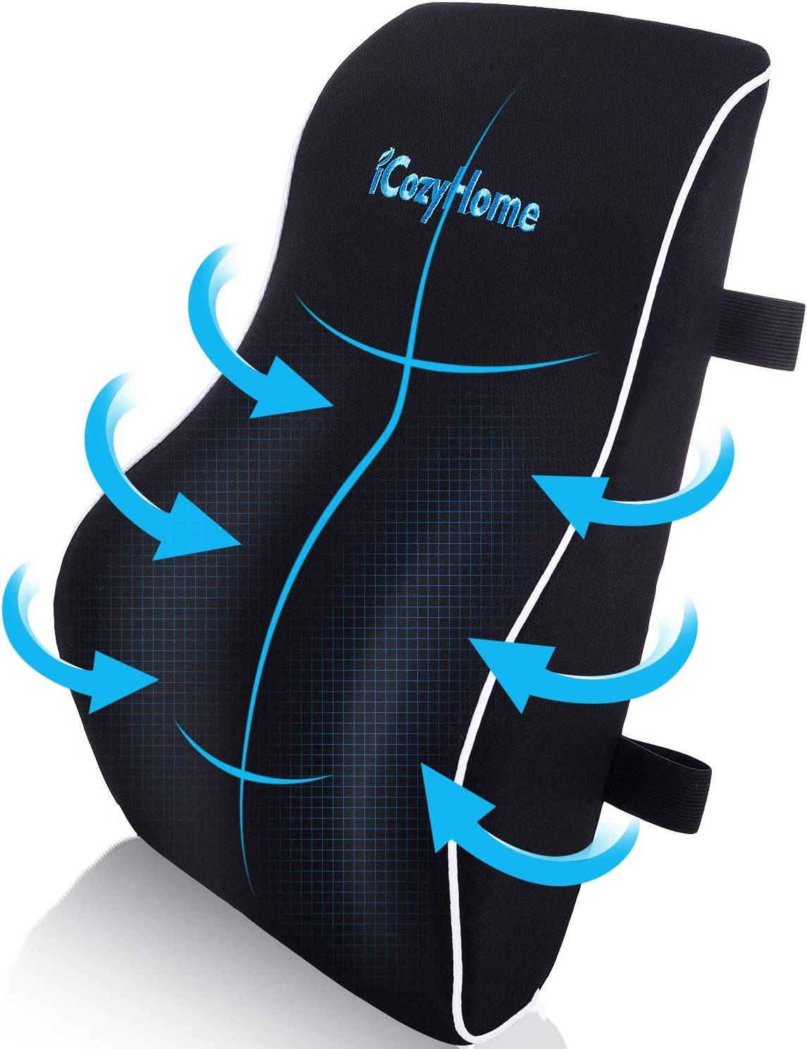 iCozyHome Lumbar Support Pillow for Chair, Lower Back Pillow, Memory Foam Lumbar Pillow for Back Pain, Orthopedic Back Cushion for Computer Chair, Gaming Chair, Office Chair, Car, Mesh Washable Cover