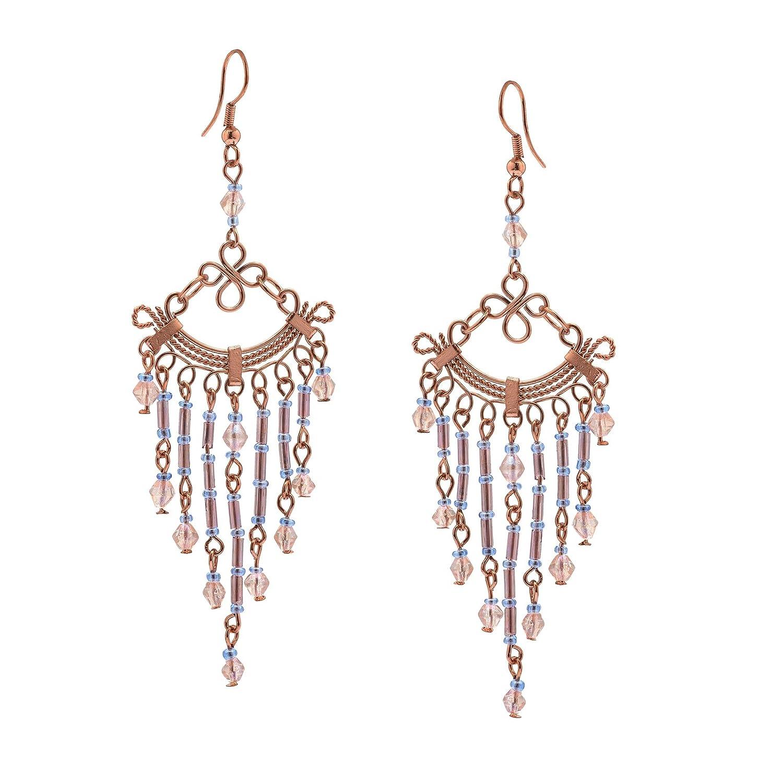 Zephyrr Fashion Jewellery Copper Earrings White Glass Beaded Contemporary Dangle /& Drop