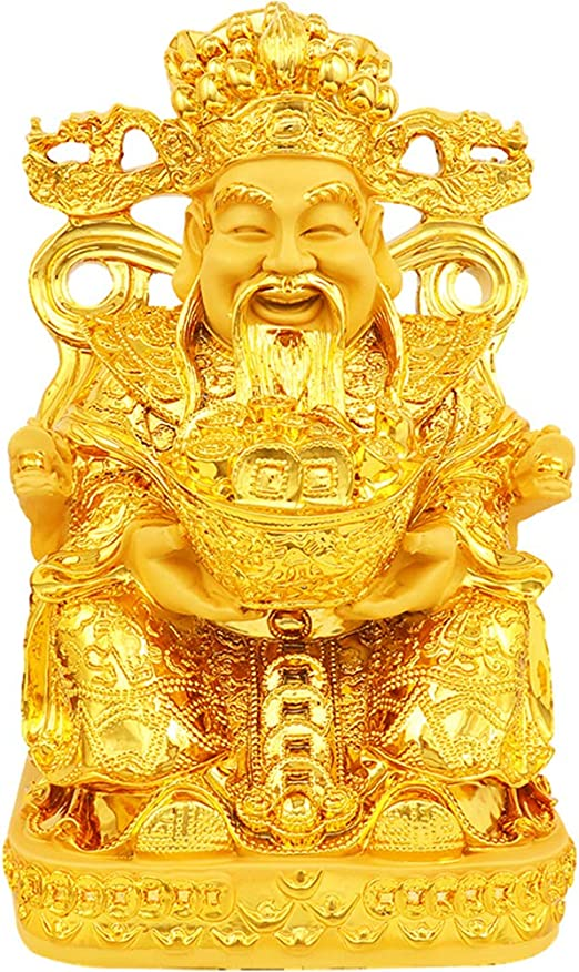 fengshuisale Brass God of Wealth Tsai Shen Yeh Sitting on Tiger Statue Figurine Free Red String Bracelet M5021