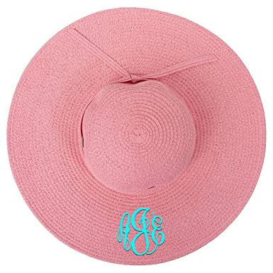fa6a813edf3a1 Personalized Womens Wide Brim Floppy Sun Beach Pool Hat (Coral Pink ...