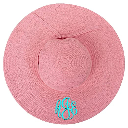 21309f1a3f8 Personalized Womens Wide Brim Floppy Sun Beach Pool Hat (Coral Pink ...