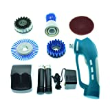 Lewisia Power Scrubber with 2 Rechargeable Batteries 4 Brushes 1 Scouring Pad Ideal Bathroom Power Scrubber