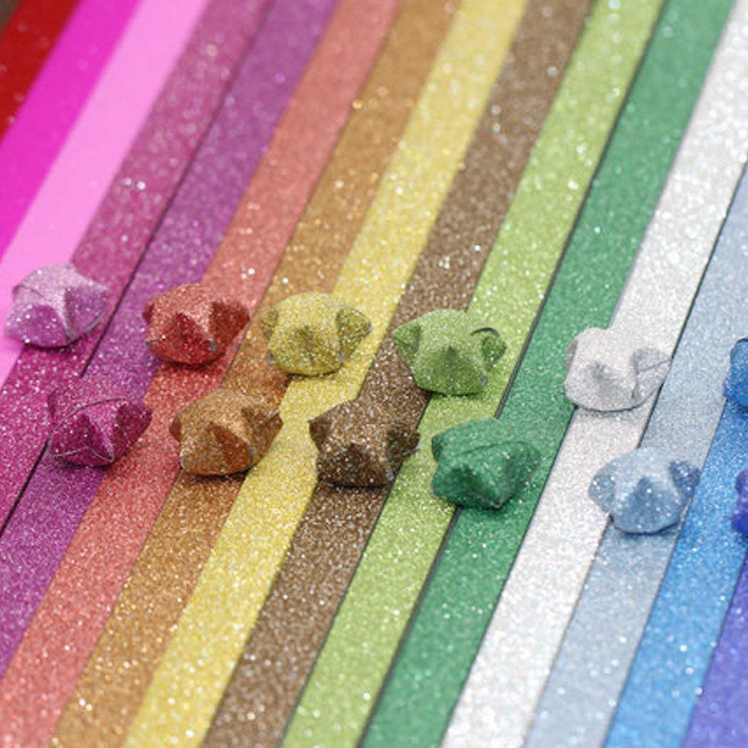 QTFHR Origami Stars Papers Package DIY Paper, 360 Sheets - 18 Colors (Glitter Origami Stars) 01