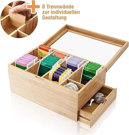 Amazy Caja para té de bambú – Caja de madera para té con 8 compartimentos, cristal templado y cajón para el almacenamiento de té (en bolsas) y otros accesorios: Amazon.es: Hogar