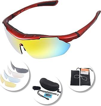 Gafas Polarizadas Deporte Bici Anti UV400 Gafas Para Correr Running Antivaho con 5 Lentes Intercambiables Adaptadas también a Ciclismo Bicicleta de Montaña MTB y Carrera para Hombre y Mujer: Amazon.es: Deportes y