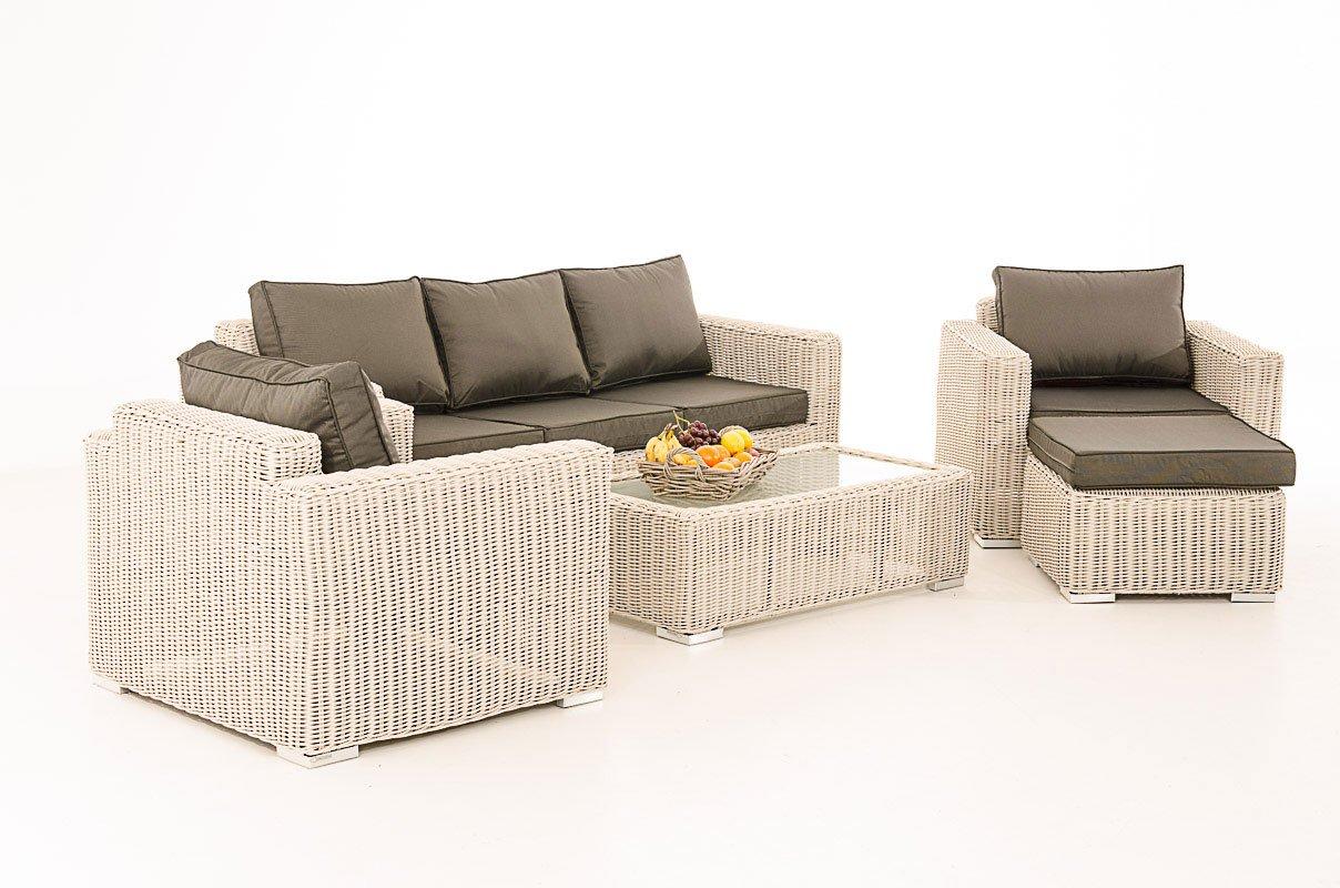 Mendler 3-1-1 Gartengarnitur CP053 Sitzgruppe Lounge-Garnitur Poly-Rattan ~ Kissen anthrazit, perlweiß