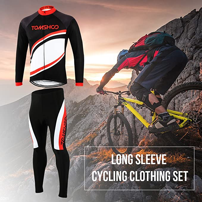 TOMSHOO Cycling Clothing Suit Spring Autumn Men Cycling Clothing Set  Sportswear Road Mountain Bicycle Bike Outdoor Full Zip Long Sleeve Cycling  Jersey + 3D ... b6438cc4a
