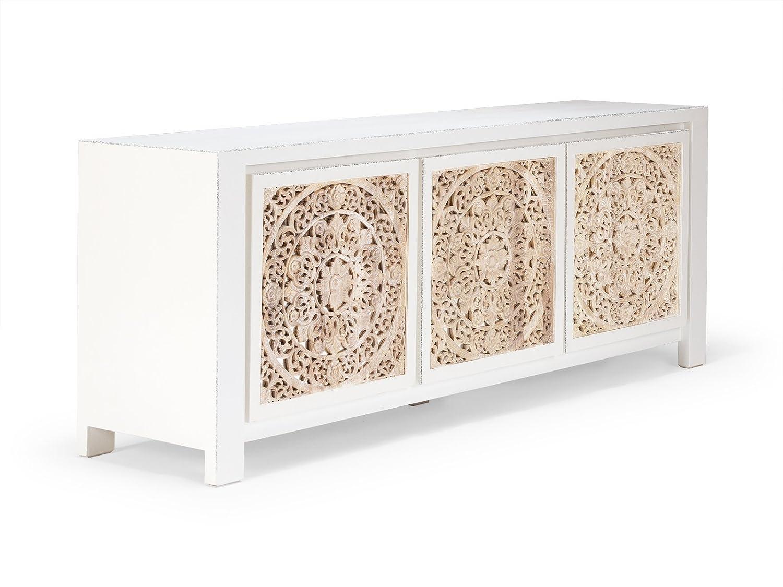 Massivum 10020333 Sideboard Valsad Holz, weiß, 50 x 203 x 80 cm