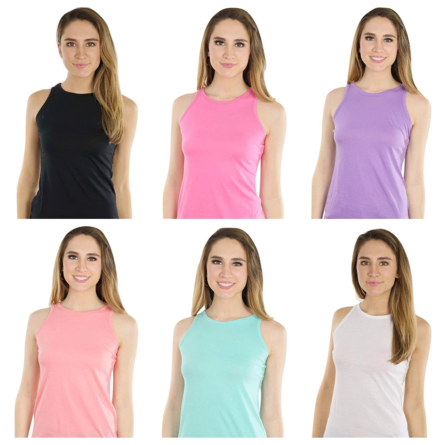 Profound Apparel Workout Clothes for Women-6 Pack Multi Color Bundle-Workout Tank Tops for Women