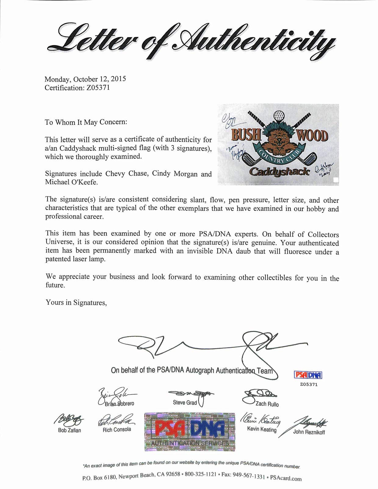 Caddyshack 3 Chase Morgan & O'Keefe Autographed Signed Memorabilia Bushwood Club Flag PSA/DNA #Z05371