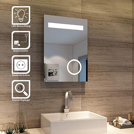 sonni design led badezimmerspiegel badspiegel lichtspiegel mit schminkspiegel mit beleuchtung ip44 energiesparend 50 x 70cm  leuchtspiegel neue wege gehen #12