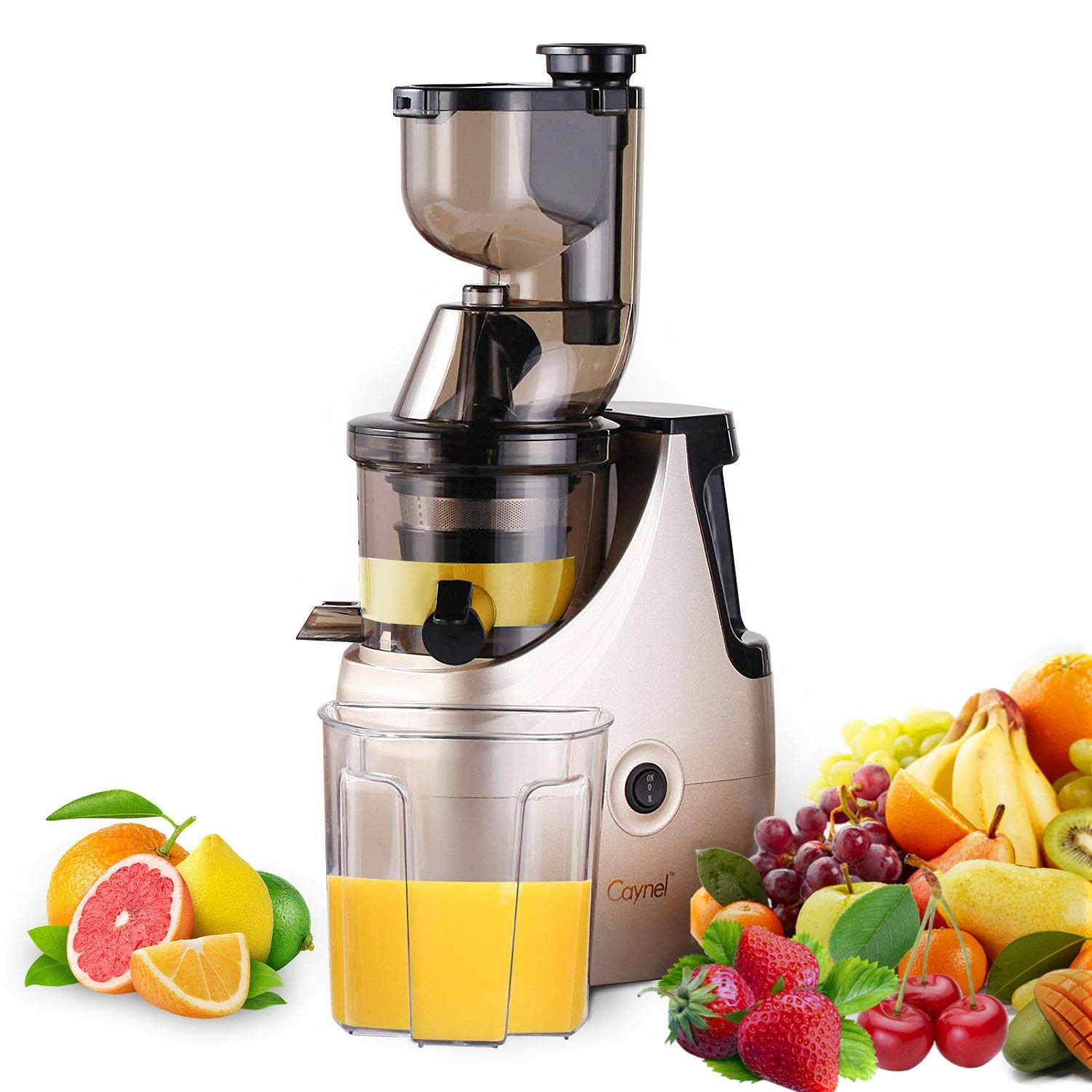 Slow Masticating Juicer Caynel Cold Press Extractor with 3'' Wide Chute for Fruits, Vegetables and Herbs, Quiet Durable Motor with Reverse Function, Smoothie Strainer Included, High Yield Vertical Juicer Easy Cleaning , BPA Free(Champagne)