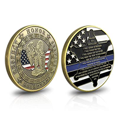 Thin Blue Line St. Michael Police Officers Challenge Coin Motto Commemorative Law Enforcement: Toys & Games