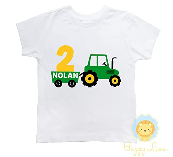 3aadfe543 Amazon.com: Happy Lion Clothing - Tractor Birthday Shirt, Farm birthday, Tractor  shirt, Boys birthday shirt: Handmade
