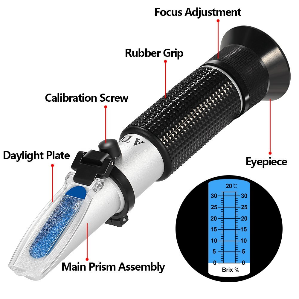 Brix Scale Range 0~32/% Brix Meter Refractometer for Sugar Content Measurement GoerTek Digital Hand Held Refractometers with Automatic Temperature Compensation ATC