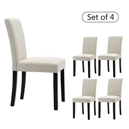 LSSBOUGHT Set Of 4 Classic Fabric Dining Chairs Dining Room Chair With  Solid Wood Legs,