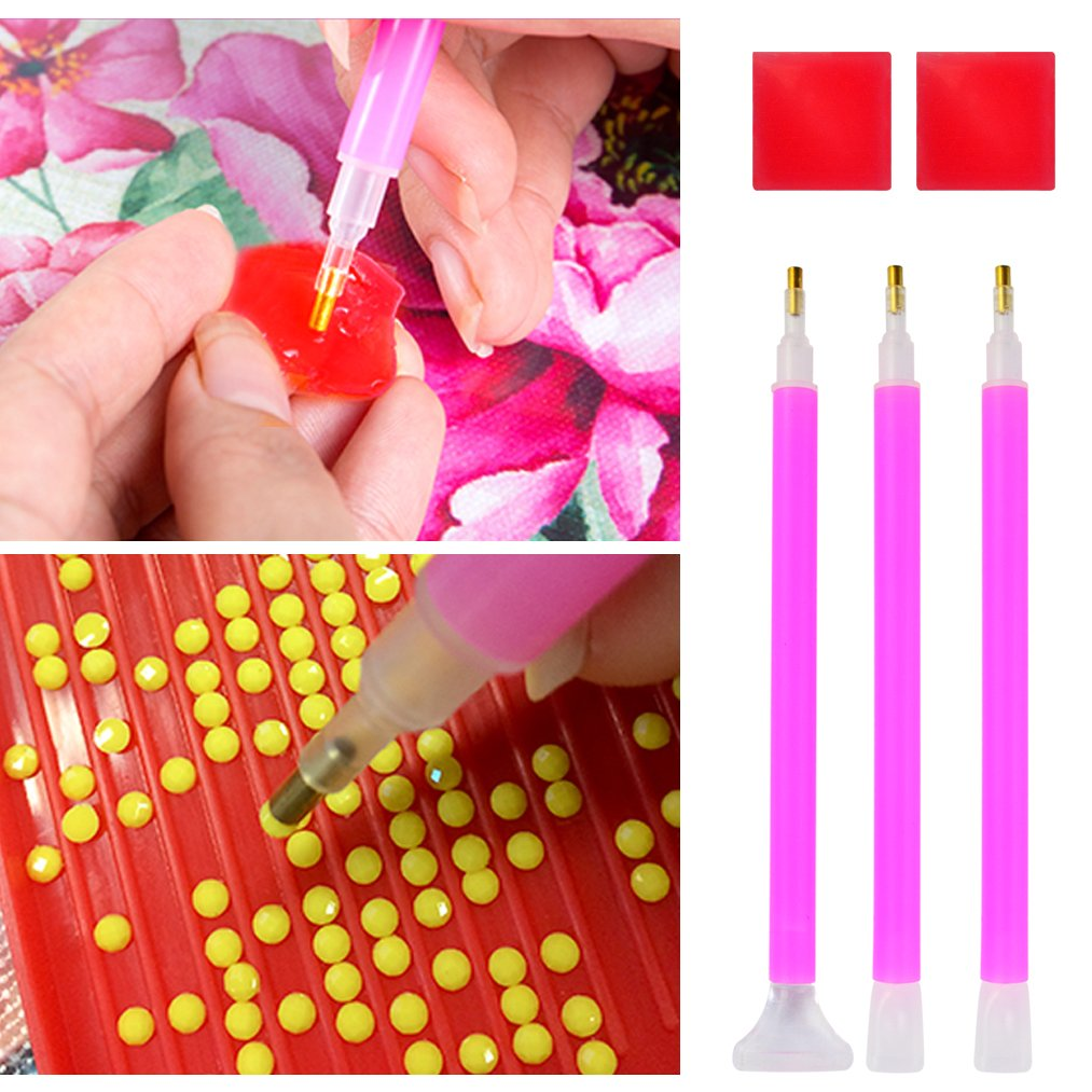 34 pcs 5D Diamond Painting Cross Stitch Tools Kit Including Diamond Stitch Pen, Tweezers, Glue, Plastic Tray, 28 Grids Diamond Embroidery Box and Transparent Plastic Box