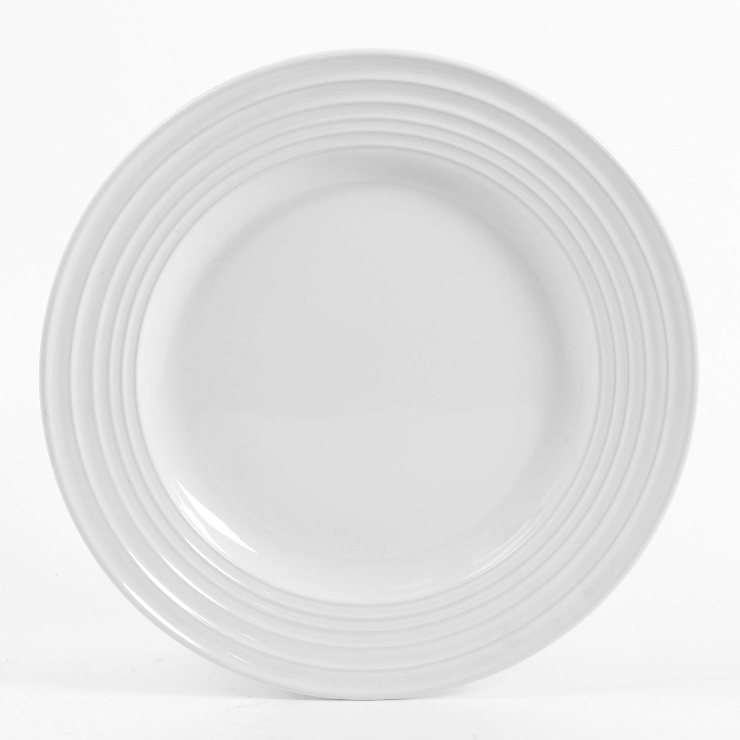 Gibson Home 12 Piece Plaza Cafe Round Dinnerware Set with Embossed Stoneware, White by Gibson Home (Image #4)