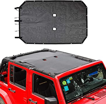 for Jeep Wrangler JK JKU 2007-2017 2 Door 4 Door Bikini Mesh Sun Shade Net Freedom Top Cover,UV Protection Sunscreen US Flag, JK 2 Door Jeep JK Sunshade