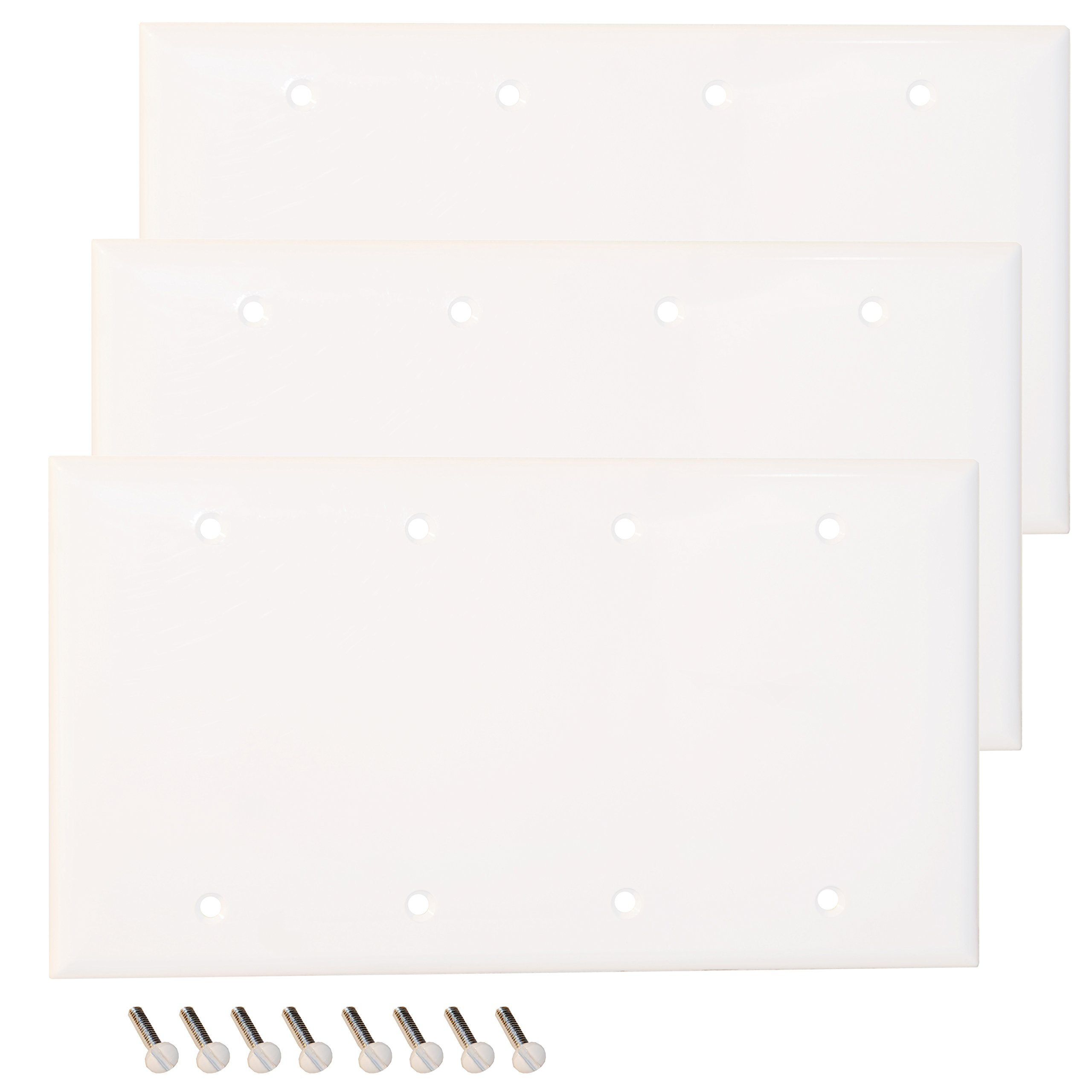 Pack of 3 Wall Plate Outlet Switch Covers by SleekLighting | Decorative Plastic White Look | Variety of Styles: Decorator/Blank/Toggle | Size: 4 Gang Blank