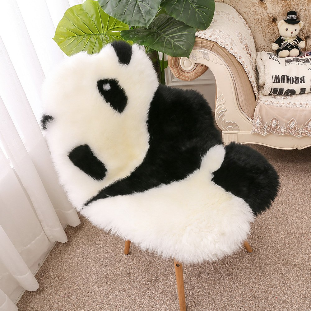 Naptime & Animal Play Rug for Babies, 100% Soft Genuine Australian Lambskin Cute Panda
