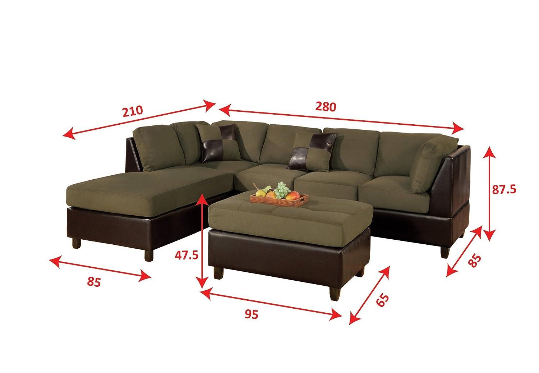 Amazon.com: BOBKONA Hungtinton Microfiber/Faux Leather 3 Piece Sectional  Sofa Set, Sage: Kitchen U0026 Dining