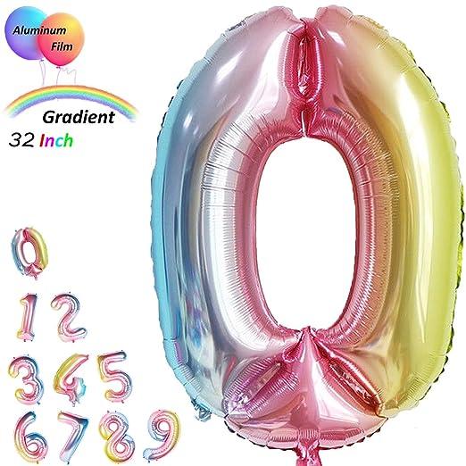 Gradiente Gigante de 32 Pulgadas Número de Color Globos Jumbo Cumpleaños Globos Digitales Hoja Enorme Globos Mylar (0)