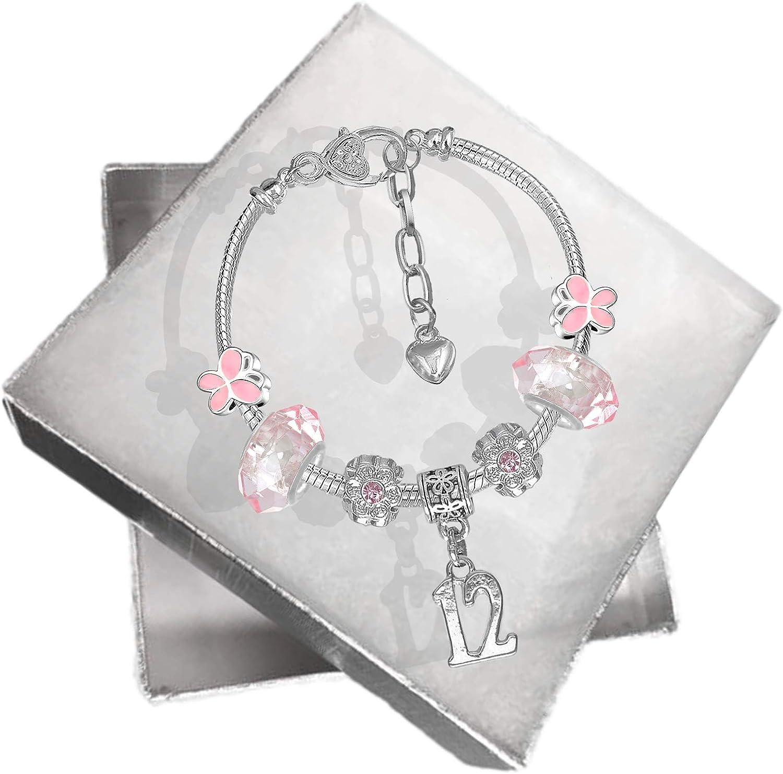 Bracelet rose /à breloques avec papillon et chiffre indiquant l/'/âge/ bo/îte cadeau