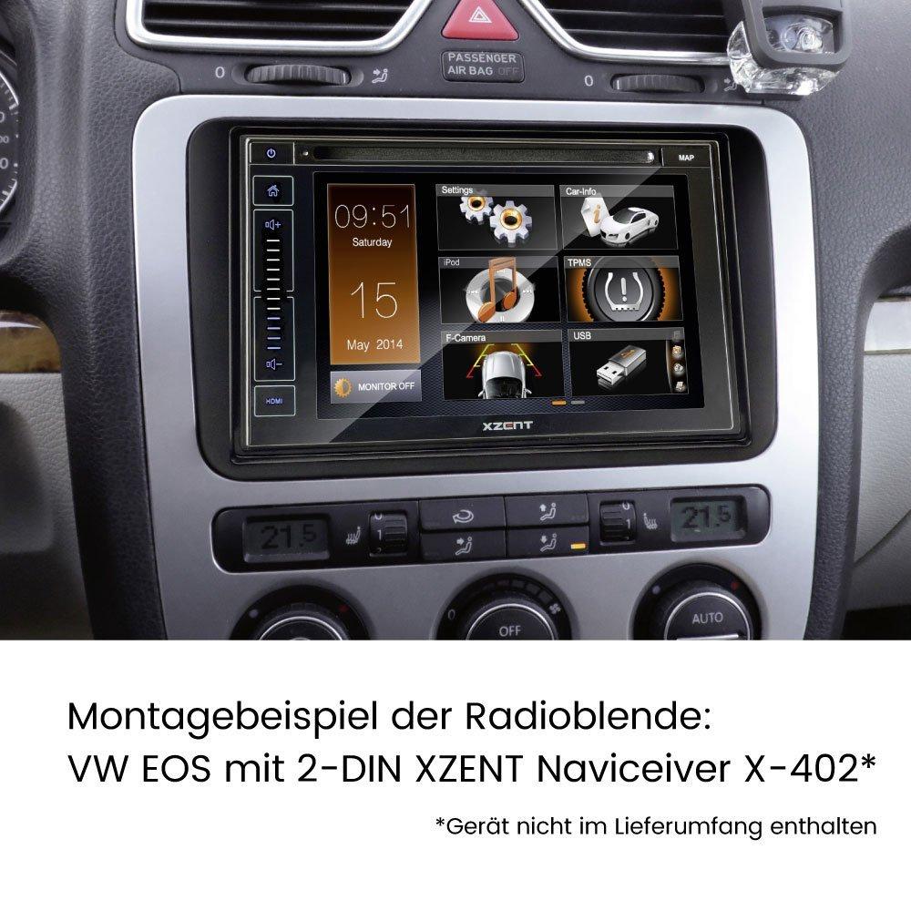 Completo set de montaje para radio de coche con navegador, para Volkswagen, 2-DIN y 1-DIN, adaptador ISO, con alimentación Phantom y Fakra: Amazon.es: ...