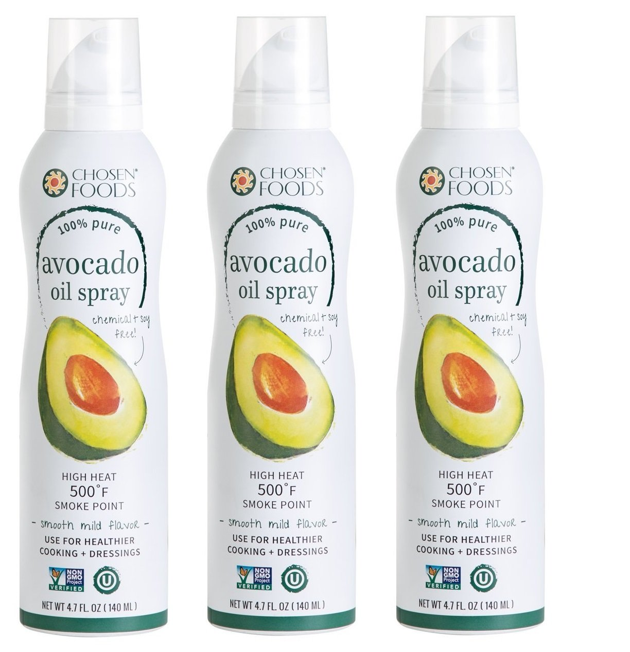 Chosen Foods Avocado Oil Spray, 4.7 Fluid Ounce (4.7 FL OZ - Pack of 3)