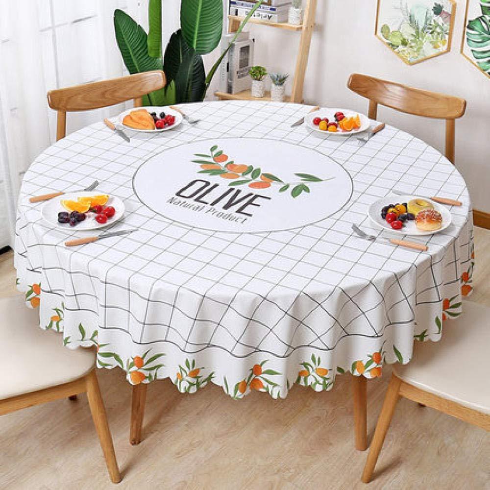 WJJYTX Plastiktischdecken abwischbar, Rund Modern/Protector Textilrücken Nordic style-137_J