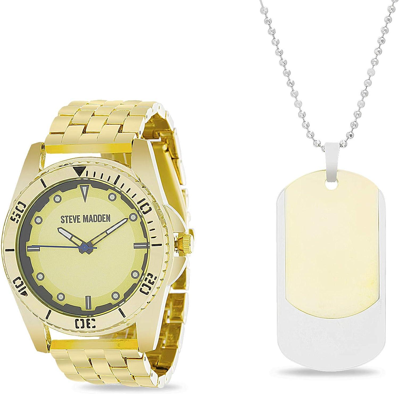 STEVE MADDEN - Juego de Collar con Colgante de Reloj y Placa de identificación para Hombre