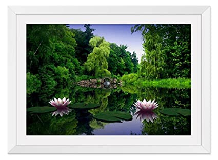 Amazon lotus flower lake white frame art print poster home lotus flower lake white frame art print poster home wall decor16x24 inch mightylinksfo