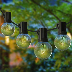 Outdoor String Lights, 25Ft G40 Globe Patio Lights with 27 Edison Glass Bulbs(2 Spare) UL Listed Weatherproof Patio Lights Indoor Outdoor Commercial Decoration for Party Wedding Garden Backyard Deck