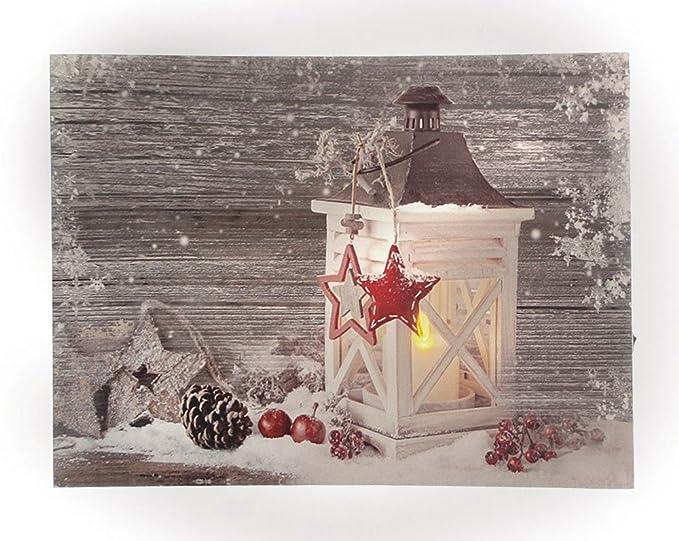 LED Bild Wandbild Laterne Winter Leinwand beleuchtet Leuchtbild 40 x 30 cm