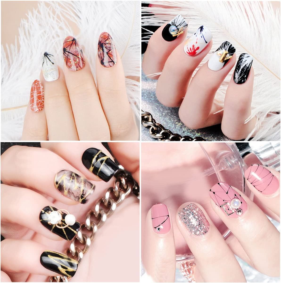 Buy Saviland 6 Colors Spider Gel and Painting Pen, Matrix Gel with Gel  Paint Design Nail Art Wire Drawing Gel for Line (White, Black, Red, Blue,  Yellow, Silver) Online at Low Prices