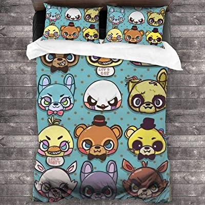 """FNAF Fiv-e Nig-hts at Fre-ddyS 3-Piece Bedding Set 86"""" x70 Comforter Quilt Set Twin Size Soft Duvet Cover Set with 1 Quilt Cover 2 Pillow Shams for Teens Boys Girls: Kitchen & Dining"""