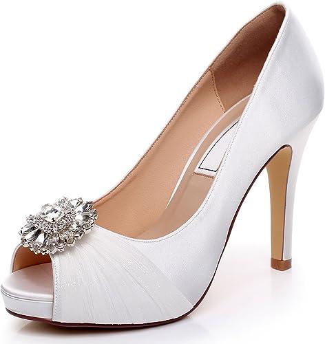 Yooziri Satin Wedding Shoes Combining Lace And Rhinestone Brooch