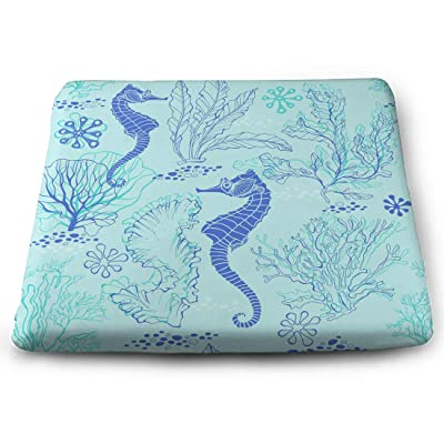 Tinmun Square Cushion, Seahorses Underwater Plants Abstract Algae Large Pouf Floor Pillow Cushion for Home Decor Garden Party: Home & Kitchen