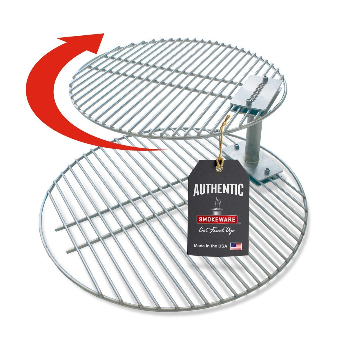 SmokeWare Stacker & Grill Grate Combo (Top Grate and Stacker Only) - Compatible with Large Big Green Eggs, Stainless Steel Grill Accessories by SmokeWare